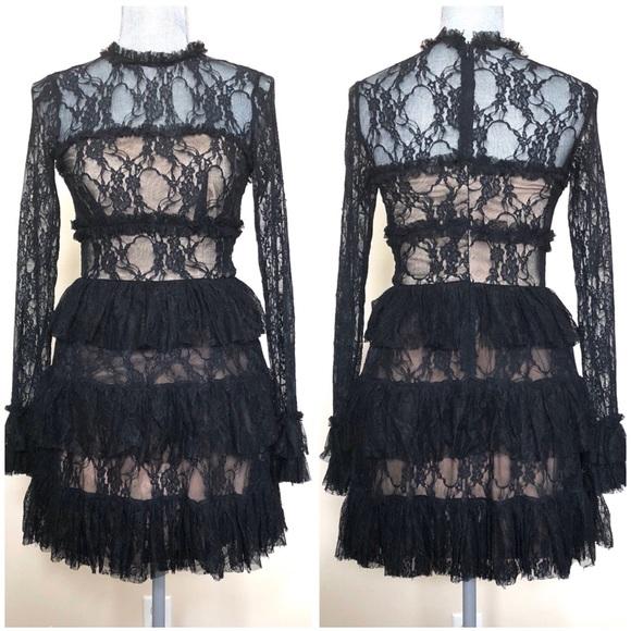 Nwot Bailey 44 Feeding Circle Black Lace Dress